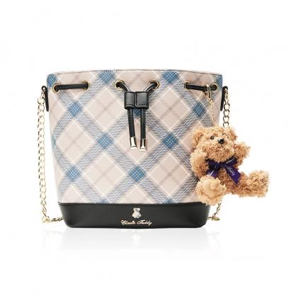 Classic Teddy蘇格蘭格紋系列水桶包-奢華藍(送 精典泰迪熊吊飾 乙只)