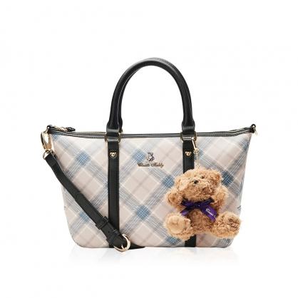 Classic Teddy蘇格蘭格紋系列T字包-奢華藍(送 精典泰迪熊吊飾 乙只)