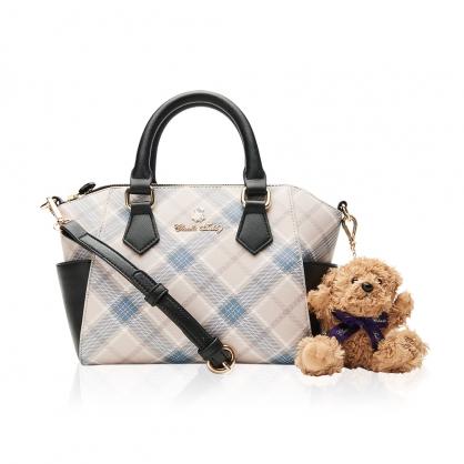 Classic Teddy蘇格蘭格紋系列手提包-奢華藍(送 精典泰迪熊吊飾 乙只)