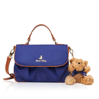Classic Teddy普莉姿斜背包-寶石藍(送 精典泰迪熊吊飾 乙只)