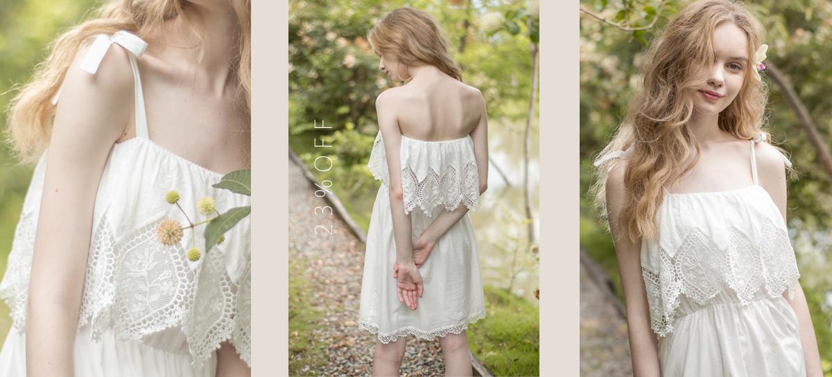 森林精靈 帶襯墊布蕾絲純棉洋裝