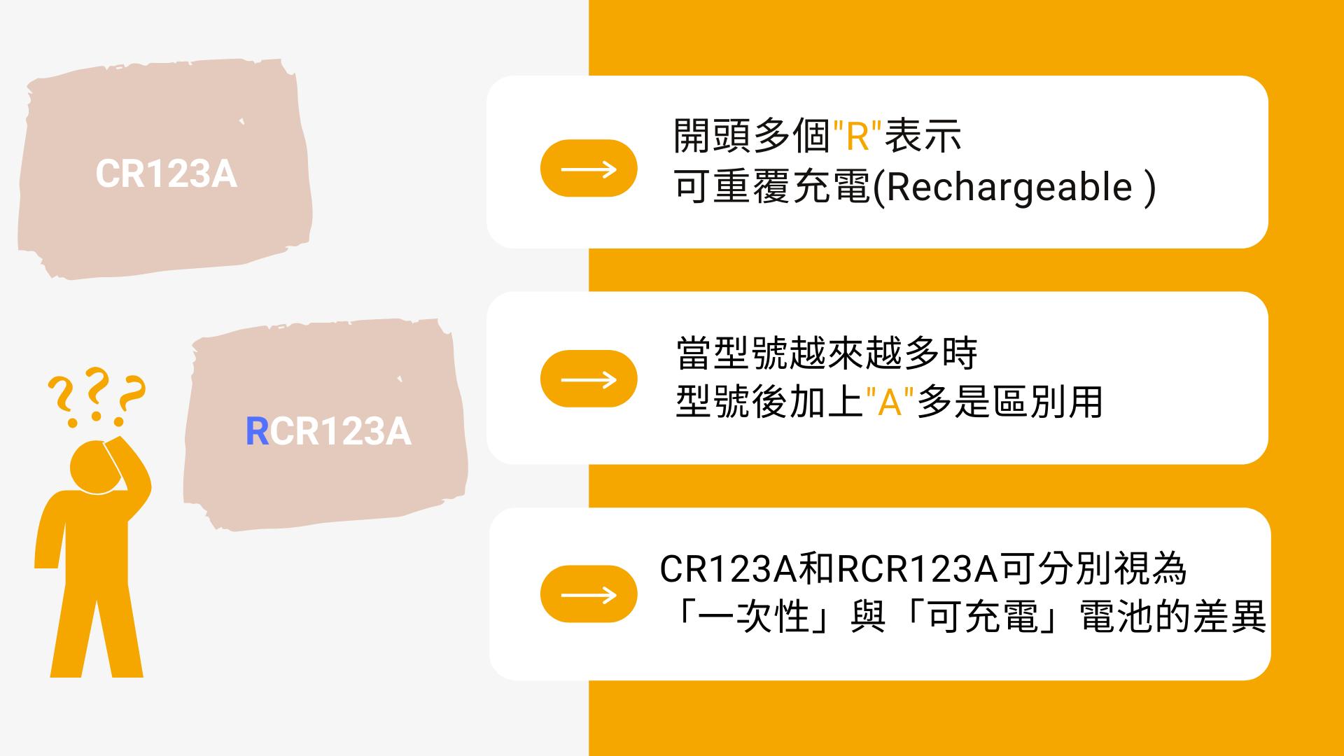 CR123A 一次性電池 RCR123A 可充電鋰電池