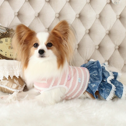 【PET'S REPUBLIC】GemelliDog-條紋單寧拼接連身裙
