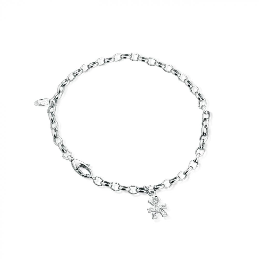Gioielli珍愛Pave男孩輪廓意象吊飾鑽石手鍊