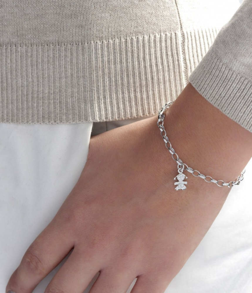 Gioielli珍愛Paves女孩輪廓意象吊飾鑽石手鍊