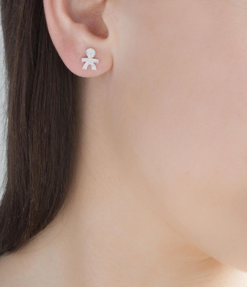 Gioielli珍愛Cuff男孩輪廓意象鑽石耳環