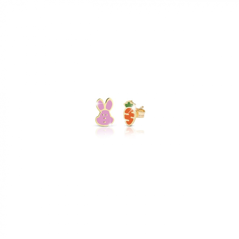 Primegioie首愛 Lucky幸運耳環 兔子與胡蘿蔔設計(9K金)