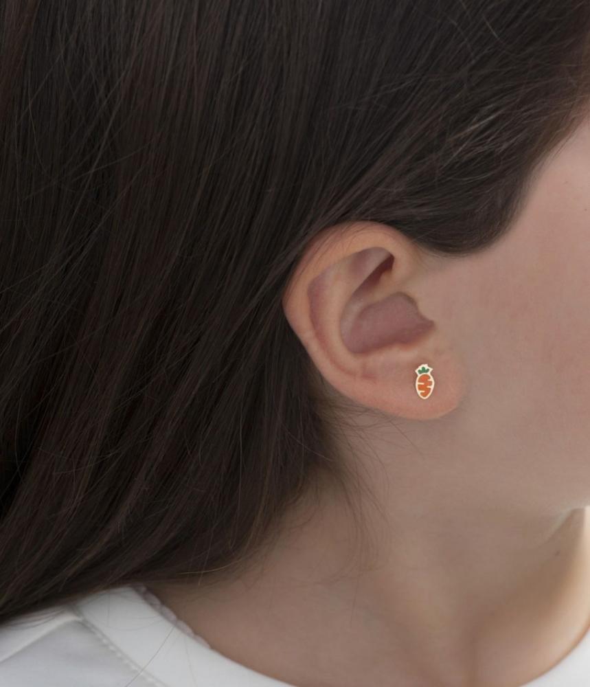 Primegioie首愛 Lucky幸運耳環 兔子與胡蘿蔔設計(18K金)