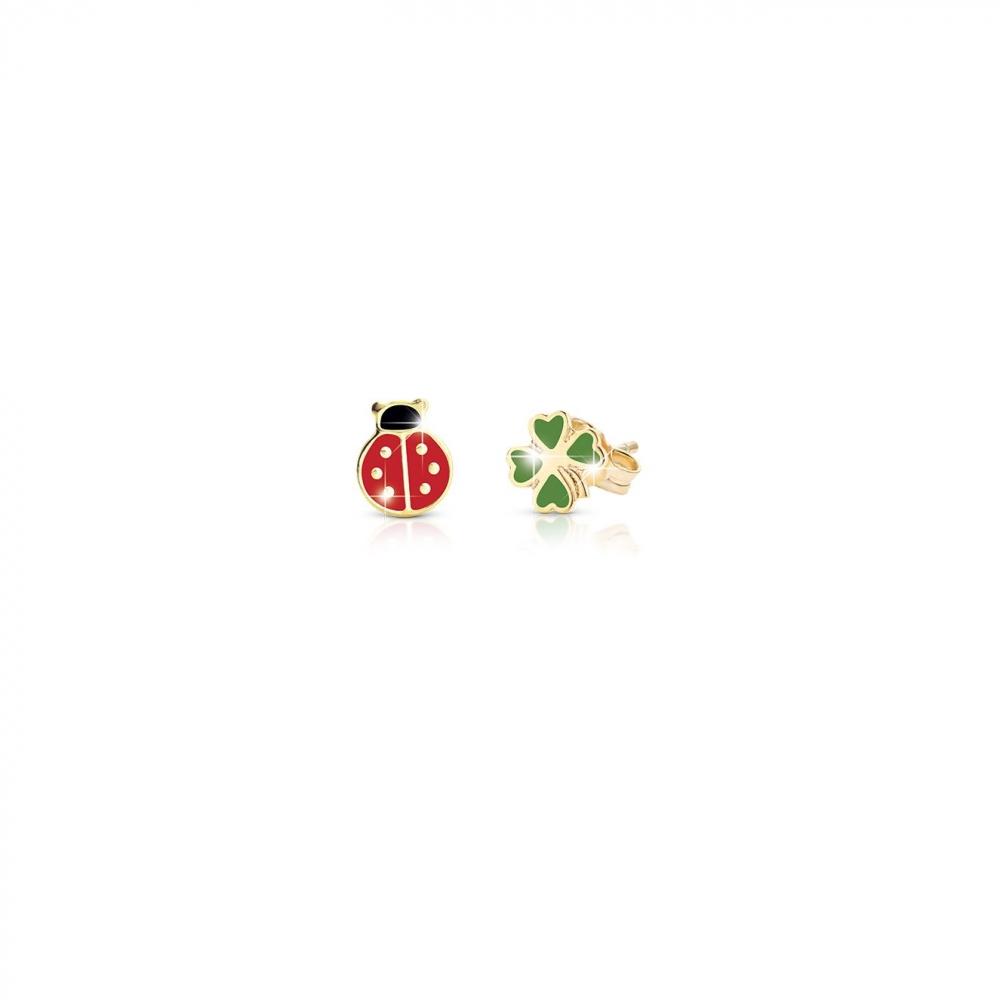 Primegioie首愛 Lucky幸運耳環 瓢蟲與四葉草設計(9K金)