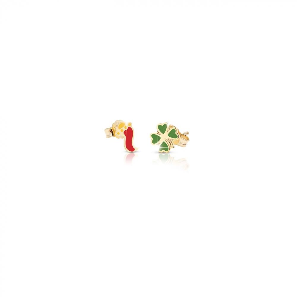 Primegioie首愛 Lucky幸運耳環 喇叭與四葉草設計(9K金)