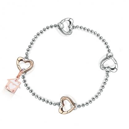 LockYourLove結我鎖愛 細手鍊搭配2玫瑰金心型扣環及吊飾一只