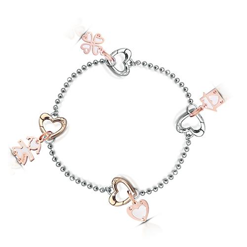 LockYourLove結我鎖愛 細手鍊搭配2玫瑰金心型扣環及2只吊飾