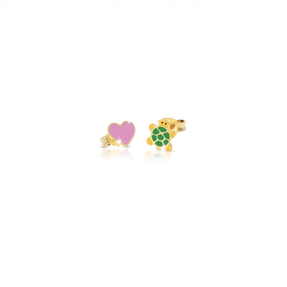 Primegioie首愛 Lucky幸運耳環 烏龜與愛心設計(9K金)