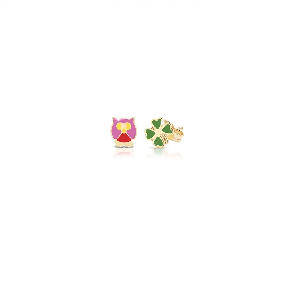 Primegioie首愛 Lucky幸運耳環 貓頭鷹與四葉草設計(9K金)