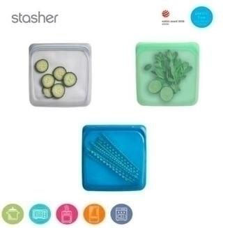美國Stasher 白金矽膠密封袋-方形(星塵灰/薄荷綠/野莓藍)
