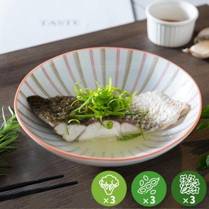 【減醣無澱粉】清蒸黃金鱸魚排超值餐3份