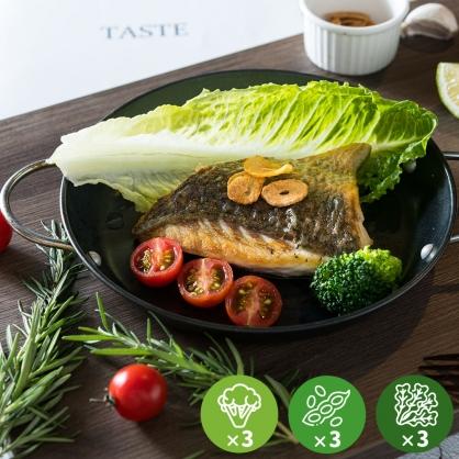 【減醣無澱粉】黃金香煎鱸魚排超值餐3份