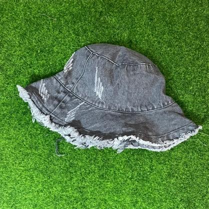 平繡訂製-黑色牛仔漁夫帽