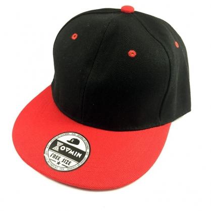 立體繡訂製-黑紅拼接嘻哈帽
