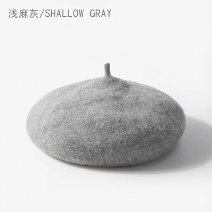 貝蕾帽-淺麻灰