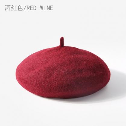 平繡訂製-酒紅色貝蕾帽