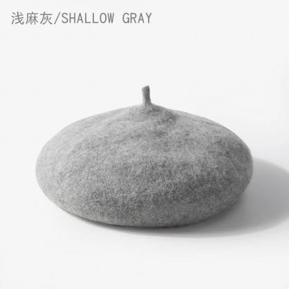 平繡訂製-淺灰色貝蕾帽
