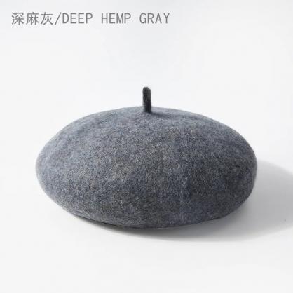 平繡訂製-深灰色貝蕾帽