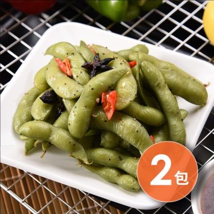 【超低自由配.77元任你選】素食可食 黑胡椒即食毛豆莢x2包(400g/2包)【減脂身型最愛】|狂吃crazy eat [SOONSHOW順效限定]