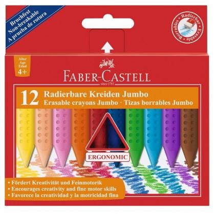 FABER-CASTELL 輝柏 握得住可擦拭三角粗芯蠟筆12色/ 盒 122540
