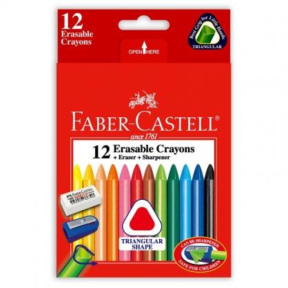 FABER-CASTELL 輝柏 三角粗芯擦擦蠟筆12色/盒 122612