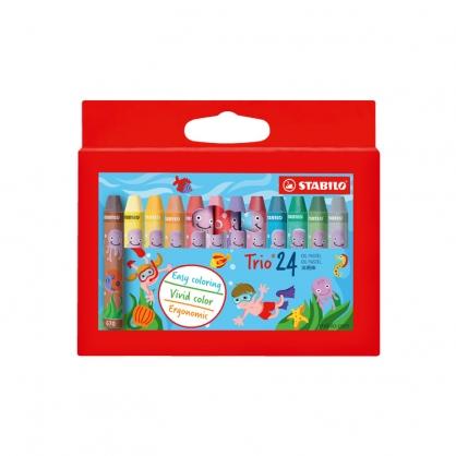 STABILO思筆樂 Trio三角筆身兒童油性粉蠟筆 24色 盒 / 2624