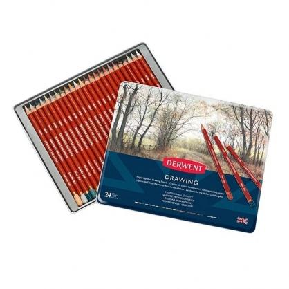 英國 DERWENT DRAWING 炭精筆 大地色系 24色/鐵盒裝 DW0700672