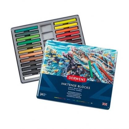 英國 DERWENT INKTENSE 水墨彩條 24色/鐵盒裝 DW2300443