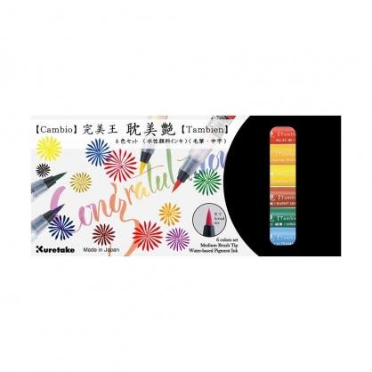 Kuretake 日本吳竹 完美王耽美艷彩色毛筆 A組 六色組 / 盒 XO50T-6VA