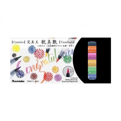 Kuretake 日本吳竹 完美王耽美艷彩色毛筆 B組 六色組 / 盒 XO50T-6VB