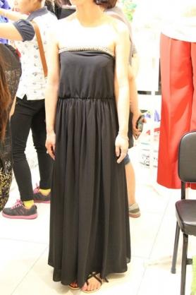 韓國東大門 串珠修飾抹胸收腰顯瘦連衣裙