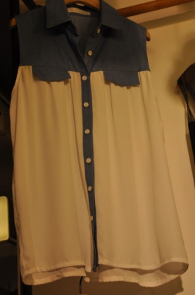 韓國東大門 翻領無袖長款設計系扣襯衫