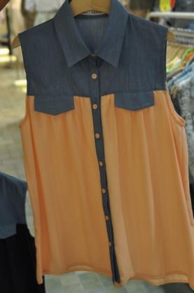 韓國東大門 翻領系扣女士無袖長款設計襯衫