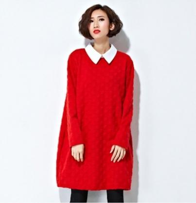 歐美風時尚中長款拼接寬鬆大碼連衣裙