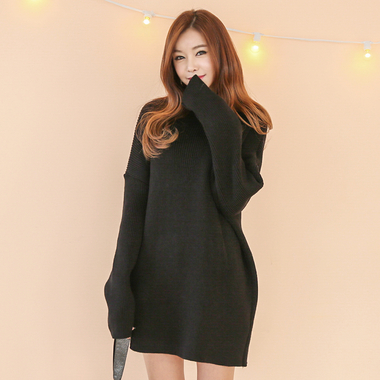 正韓空運 SIDE SLIT POLO NECK KNIT DRESS OPS-ST