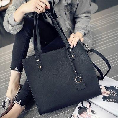 韓版時尚簡潔大包 方格手提包