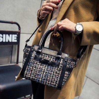 歐美時尚拼接手提包