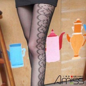 AMISS透膚感造型絲襪-側邊曲線花藤