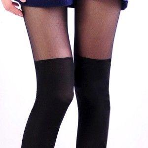 AMISS透膚感造型絲襪-假膝上(顯瘦黑)