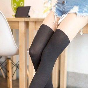 AMISS透膚感造型絲襪-假膝上(自然膚)