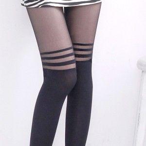 AMISS透膚感造型絲襪-假膝上(休閒橫條)