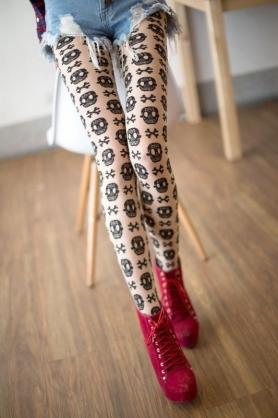 AMISS透膚感造型絲襪-龐克骷髏(膚)