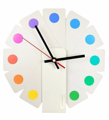 Transformer時鐘 (白色扇葉/彩色斑點)
