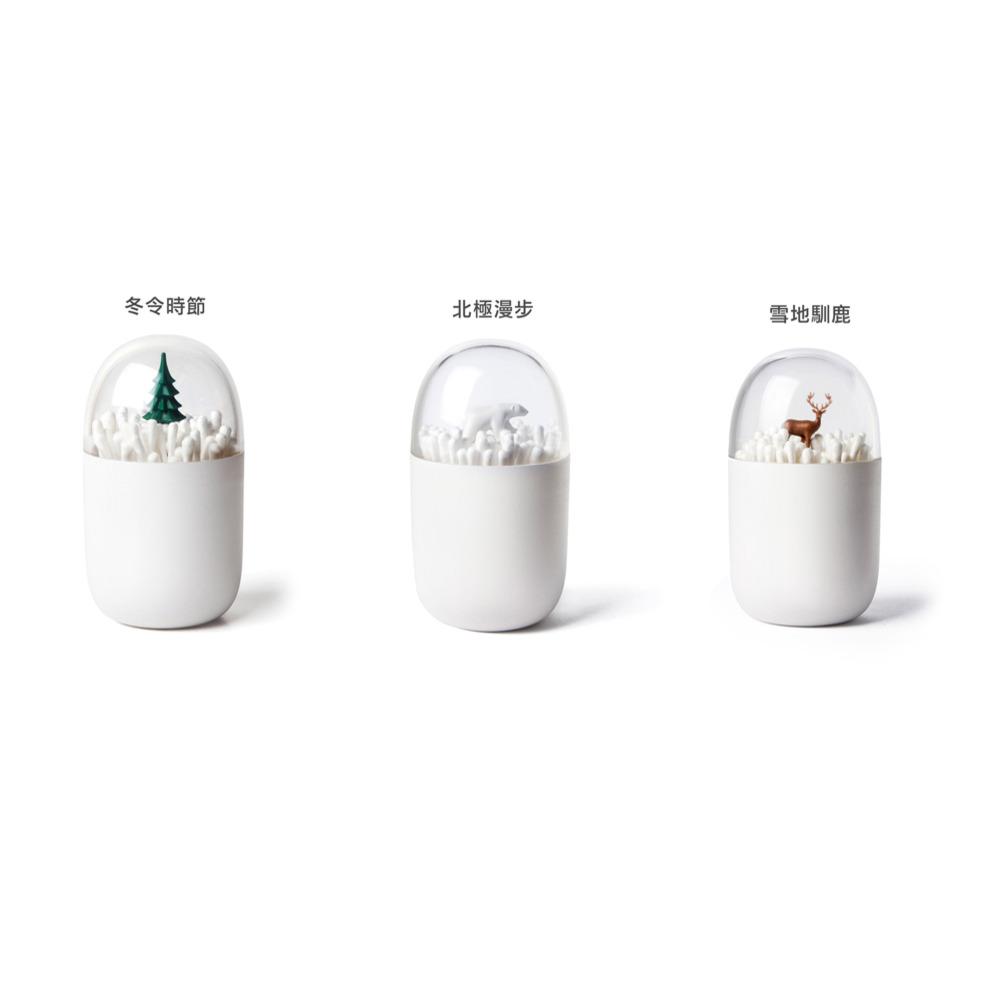 Qualy 棉花棒罐 (雪地馴鹿/北極漫步/冬令時節)