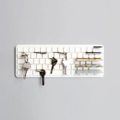 Qualy 鍵盤壁掛 鑰匙收納架 (白)